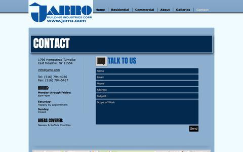 Screenshot of Contact Page jarro.com - Jarro Building Industries | Long Island General Contractors | Contact - captured Oct. 16, 2017