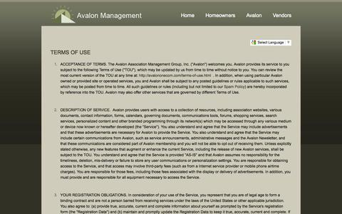 Screenshot of Terms Page avalonweb.com - Avalon Management Website Terms of Use - The Avalon Management Group - captured Oct. 26, 2014