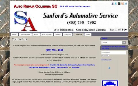 Screenshot of Contact Page sanfordsauto.com - Find us in person and online! We love to hear from you! - captured Oct. 4, 2014