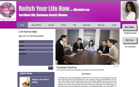 Screenshot of Home Page relishyourlifenow.com - Relish Your Life Now LLC - Michelle Lee - captured Oct. 7, 2014