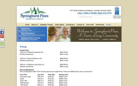 Screenshot of Pricing Page springhurstpines.org - Pricing | Springhurst Pines - captured Oct. 8, 2016