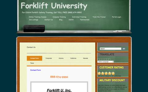Screenshot of Contact Page forkliftuniversity.com - Contact Us - captured Oct. 10, 2018