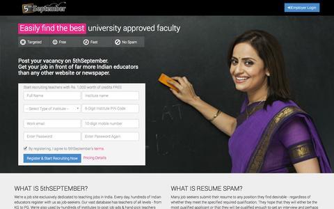 Screenshot of Signup Page 5thseptember.com - 5thSeptember.com - captured Sept. 19, 2014