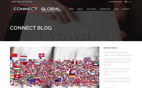 Screenshot of Blog connect-global.net - CONNECT GLOBAL   Globalization and Localization Services from Tranlsation Agengies USA - captured Oct. 8, 2016