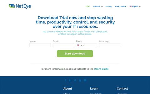 Screenshot of Trial Page neteye.co - NetEye - Solving problems of time and data loss in the workplace - captured Nov. 18, 2018