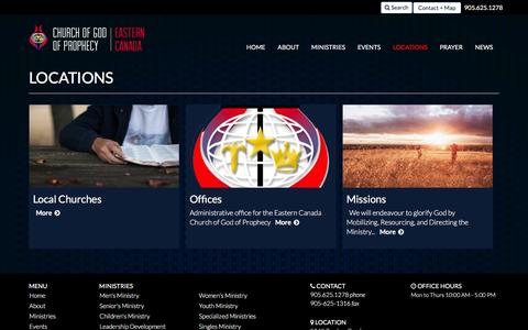 Screenshot of Locations Page cogop.ca - Locations | Church of God of Prophecy - Eastern Canada - captured Jan. 28, 2016