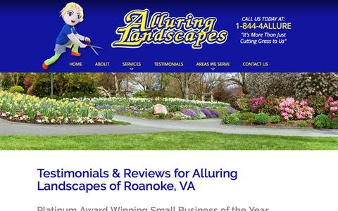 Screenshot of Testimonials Page alluringlandscapes.biz - Testimonials - Alluring Landscapes   Roanoke, VA - captured May 29, 2017