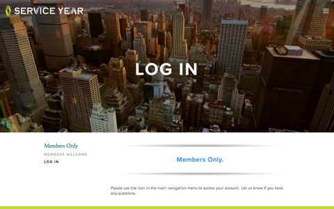 Screenshot of Login Page serviceyear.org - Log In — Service Year | Leadership For Good - captured Feb. 10, 2016