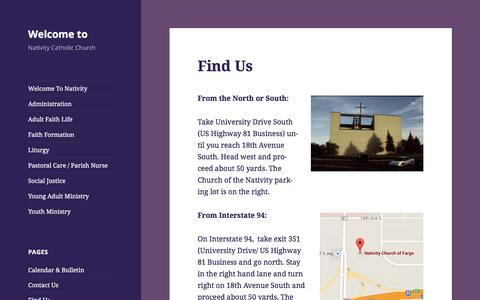 Screenshot of About Page nativitycatholicchurch.net - Nativity Church of Fargo Location / Map | Welcome to - captured Nov. 5, 2016