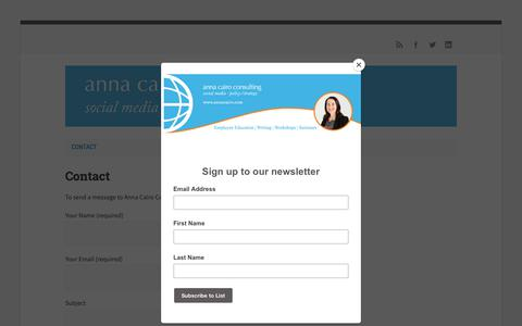 Screenshot of Home Page annacairo.com - Anna Cairo Consulting, Social Media - policy and strategy - captured Sept. 28, 2018