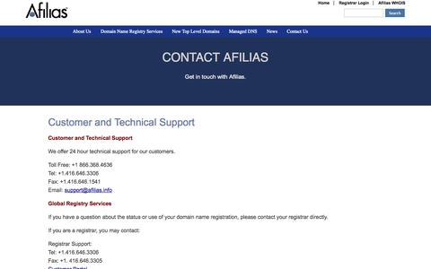 Screenshot of Support Page www.info - Customer and Technical Support | Afilias - captured Oct. 2, 2014