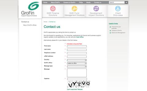Screenshot of Contact Page grofin.com - Contact us - captured Sept. 30, 2014