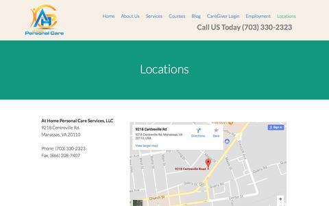 Screenshot of Contact Page homepersonalcareva.com - Home Health Care Agency in Manassas, VA - captured Oct. 9, 2017