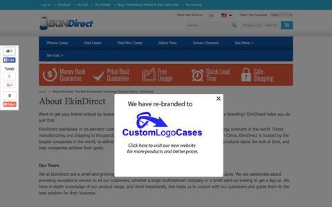 Screenshot of About Page ekindirect.com - About EkinDirect, The Best Promotional Technology Products Online | EkinDirect - captured Dec. 8, 2015