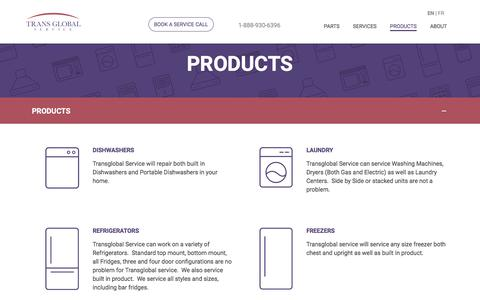 Screenshot of Products Page transglobalservice.com - Products - Trans Global Service - captured July 13, 2018
