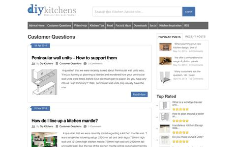 Screenshot of FAQ Page diy-kitchens.com - Customer Questions Archives - DIY Kitchens - Advice - captured April 28, 2018