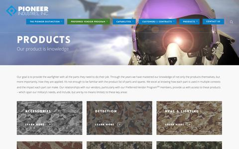 Screenshot of Products Page pioneerspares.com - Products - Pioneer Industries - captured Sept. 28, 2018