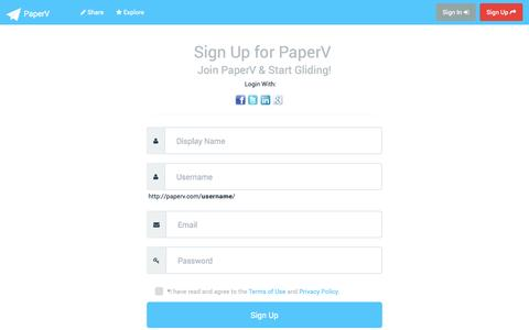 Screenshot of Signup Page paperv.com - Sign Up and Start Using  PaperV - captured Sept. 17, 2014