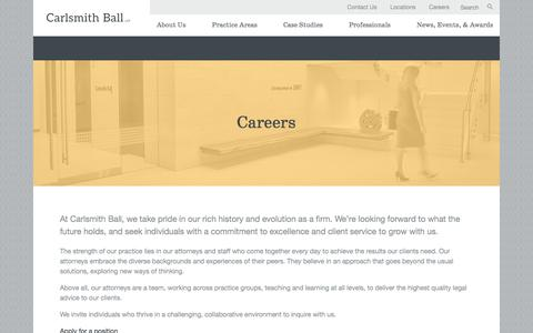 Screenshot of Jobs Page carlsmith.com - Careers | Carlsmith Ball LLP | Honolulu Law Firm - captured July 15, 2017