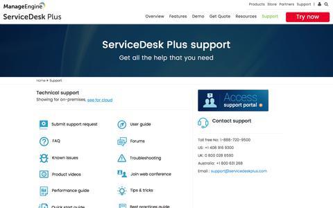 Screenshot of Support Page manageengine.com - Support portal | ServiceDesk Plus help desk - captured June 9, 2017