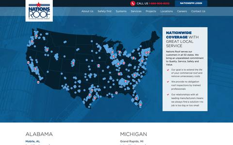 Screenshot of Locations Page nationsroof.com - Locations | Nations Roof - captured Oct. 20, 2018