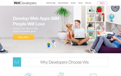 Screenshot of Developers Page wix.com captured Sept. 30, 2015