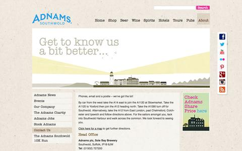Screenshot of Contact Page adnams.co.uk - Contact Us | Adnams Southwold - captured Sept. 22, 2014