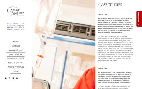 Screenshot of Case Studies Page hmsolicitors.co.uk - Injured Military Personnel Solicitors - Personal injuries Specialists - captured Oct. 8, 2014