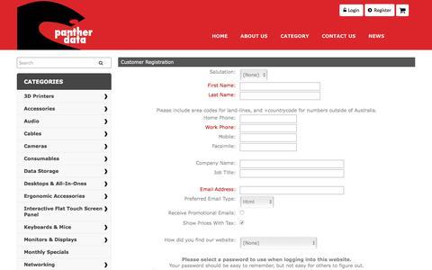 Screenshot of Signup Page pantherdata.com.au - Customer Registration - Panther Data Brisbane - captured July 13, 2017