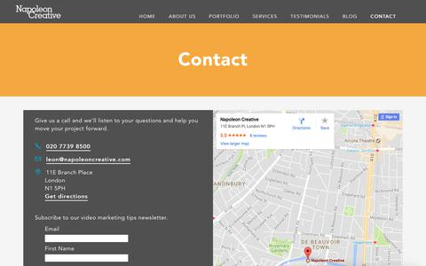 Screenshot of Contact Page napoleoncreative.com - Contact Napoleon Creative - captured Nov. 15, 2017