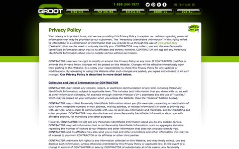 Screenshot of Privacy Page groot.com - GROOT Privacy Policy - captured Oct. 31, 2014