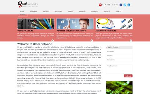 Screenshot of Home Page Products Page octelnetworks.com - Octel Home - Octel Networks - captured Oct. 6, 2014
