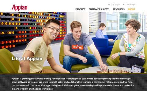 Screenshot of Jobs Page appian.com - Working At Appian | Appian - captured Nov. 9, 2015