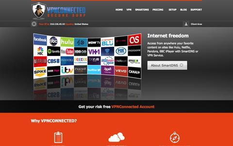 Screenshot of Home Page vpnconnected.com - Vpn service, vpn connection, hide ip service, secure online surfing - captured Jan. 30, 2015