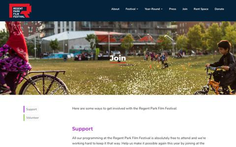 Screenshot of Signup Page regentparkfilmfestival.com - Join — Regent Park Film Festival - captured Sept. 20, 2018
