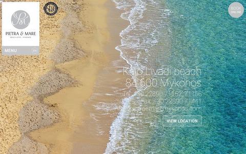 Screenshot of Contact Page pietraemaremykonos.com - Contact information, Kalo Livadi, 84600, Mykonos   Beach Hotel in Mykonos. Pietra e Mare Mykonos - captured Oct. 2, 2014