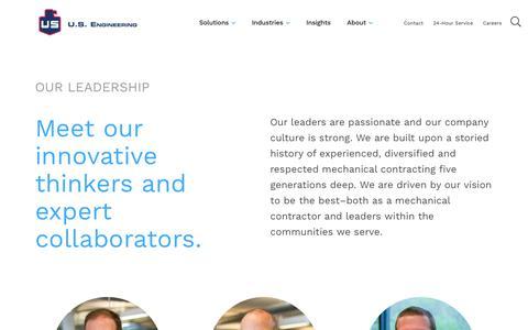 Screenshot of Team Page usengineering.com - Leadership | U.S. Engineering - captured July 3, 2019