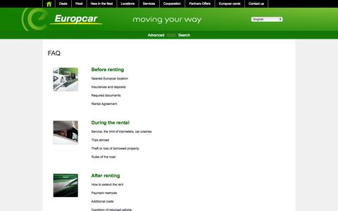 Screenshot of FAQ Page europcar.com.pl - FAQ - captured Sept. 23, 2014