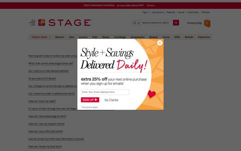 Screenshot of FAQ Page stage.com - Frequently Asked Questions | Stage Stores - captured Nov. 9, 2016