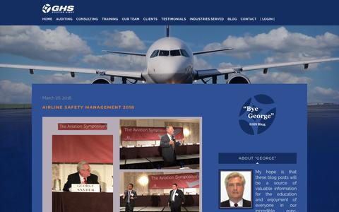 Screenshot of Blog ghsaviationgroup.aero - Bye George - Aviation Safety Specialists | GHS Aviation Group - captured July 15, 2018