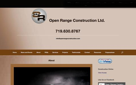 Screenshot of About Page openrangeconstruction.com - About – Open Range Construction Ltd. - captured Oct. 23, 2017