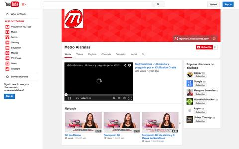 Screenshot of YouTube Page youtube.com - Metro Alarmas  - YouTube - captured Oct. 27, 2014