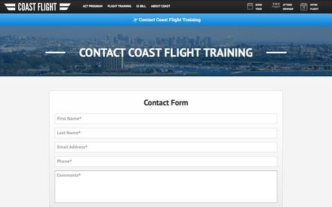 Screenshot of Contact Page iflycoast.com - Contact Coast Flight Training | Contact Us - captured Jan. 29, 2016