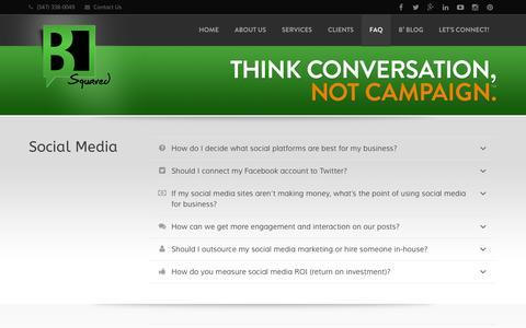 Screenshot of FAQ Page b2onlinemedia.com - B Squared Online Media - FAQ - captured Sept. 19, 2014