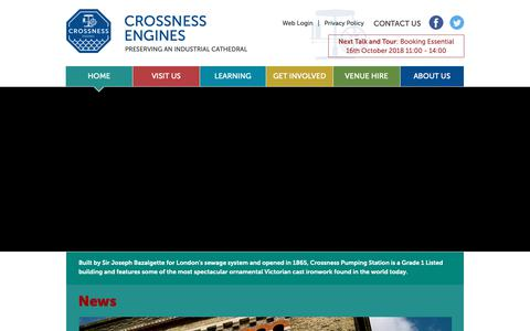 Screenshot of Home Page crossness.org.uk - HOME | Crossness Engines - captured Oct. 19, 2018