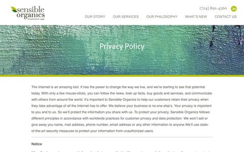 Screenshot of Privacy Page sensibleorganics.us - Privacy Policy - Sensible Organics All-Natural Organic Cosmetics | Sensible Organics - captured Oct. 7, 2014