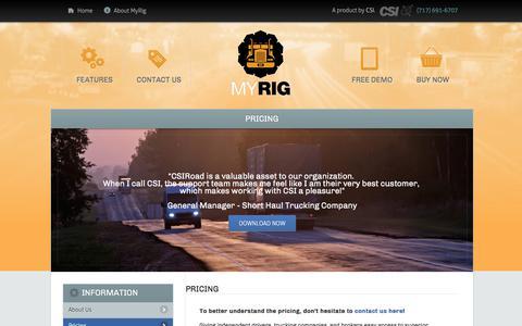 Screenshot of Pricing Page myrigapps.com - Pricing | MyRig - captured July 8, 2018