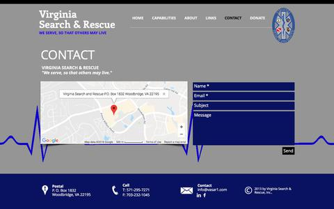 Screenshot of Contact Page usk9sar.org - CONTACT - Virginia Search and Rescue - captured Sept. 24, 2018