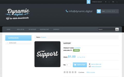 Screenshot of Support Page dynamic.digital - Support - captured Sept. 27, 2016