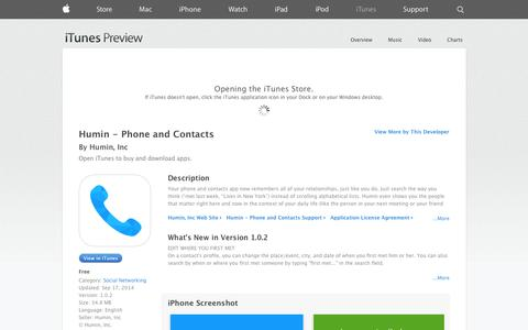 Screenshot of iOS App Page apple.com - Humin - Phone and Contacts on the App Store on iTunes - captured Oct. 28, 2014